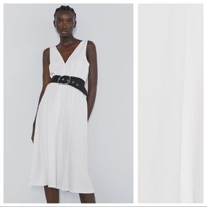 NWT. Zara White A-line Midi Dress. Size L.